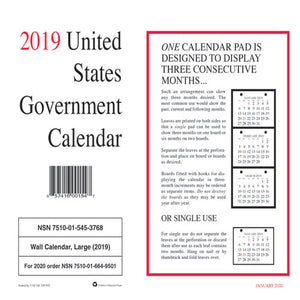ESUCR5453768 - 7510015453768, MONTHLY WALL CALENDAR, 9 X 11, 2019, 10-PACK