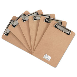 "ESUNV05561 - Hardboard Clipboard With Low-Profile Clip, 1-2"" Capacity, 6 X 9, Brown, 6-pk"