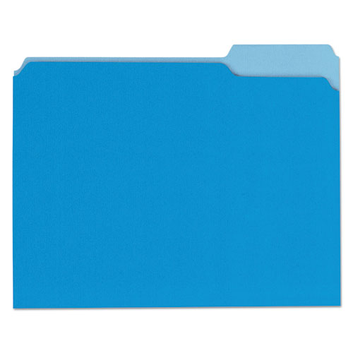 ESUNV10501 - File Folders, 1-3 Cut One-Ply Top Tab, Letter, Blue-light Blue, 100-box