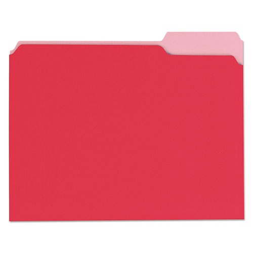 ESUNV10503 - File Folders, 1-3 Cut One-Ply Top Tab, Letter, Red-light Red, 100-box