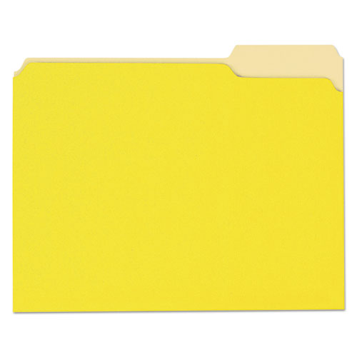 ESUNV10504 - File Folders, 1-3 Cut One-Ply Top Tab, Letter, Yellow-light Yellow, 100-box