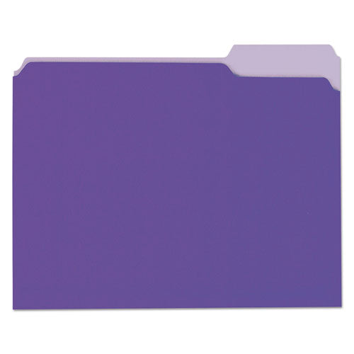 ESUNV10505 - File Folders, 1-3 Cut One-Ply Top Tab, Letter, Violet-light Violet, 100-box
