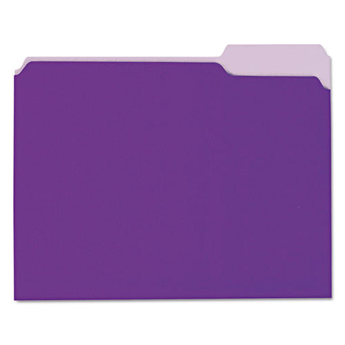 ESUNV12305 - Recycled Interior File Folders, 1-3 Cut Top Tab, Letter, Violet, 100-box
