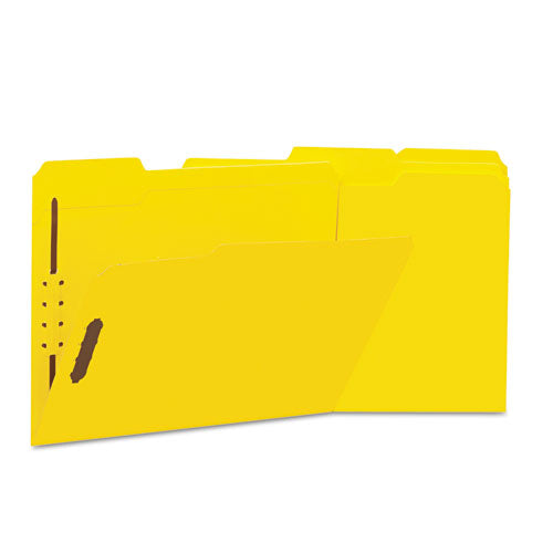 ESUNV13524 - Deluxe Reinforced Top Tab Folders, 2 Fasteners, 1-3 Tab, Letter, Yellow, 50-box