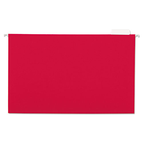 ESUNV14218 - Hanging File Folders, 1-5 Tab, 11 Point Stock, Legal, Red, 25-box