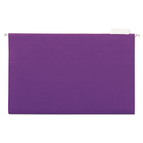 ESUNV14220 - Hanging File Folders, 1-5 Tab, 11 Point Stock, Legal, Violet, 25-box