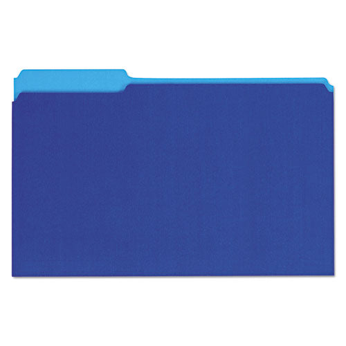 ESUNV15301 - Recycled Interior File Folders, 1-3 Cut Top Tab, Legal, Blue, 100-box