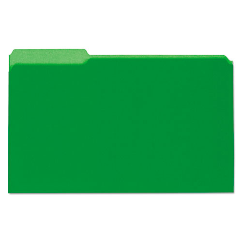 ESUNV15302 - Recycled Interior File Folders, 1-3 Cut Top Tab, Legal, Green, 100-box