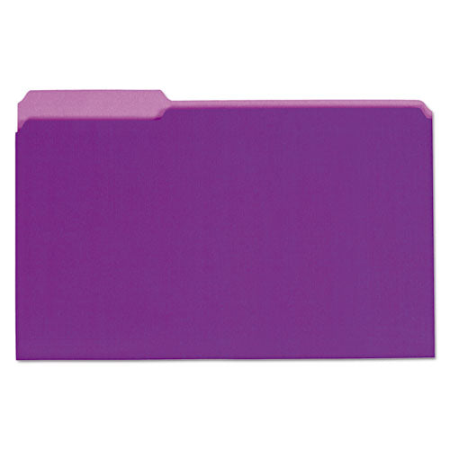 ESUNV15305 - Recycled Interior File Folders, 1-3 Cut Top Tab, Legal, Violet, 100-box
