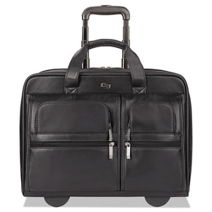 "ESUSLD9574 - Classic Leather Rolling Case, 15.6"", 16 7-10"" X 7"" X 13"", Black"