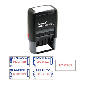 ESUSSE4756 - Economy 5-In-1 Date Stamp, Self-Inking, 1 X 1 5-8, Blue-red