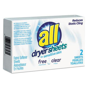ESVEN2979353 - Free Clear Vend Pack Dryer Sheets, Fragrance Free, 2 Sheets-box, 100 Box-carton