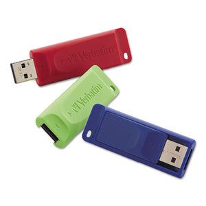 ESVER98703 - Store 'n' Go Usb 2.0 Flash Drive, 8gb, Blue-green-red, 3-pack