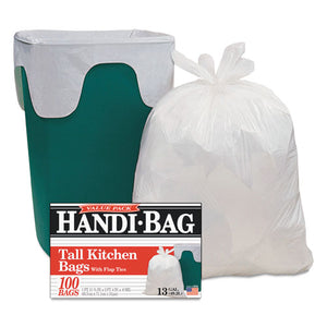 ESWBIHAB6FK100CT - Super Value Pack Trash Bags, 13gal, 0.6mil, 23 3-4 X 28, White, 100-box, 6 Bx-ct
