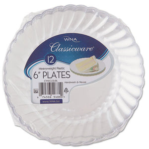 "ESWNARSCW61512 - Classicware Plastic Plates, 6"" Dia., Clear, 12 Plates-pack, 15 Packs-carton"