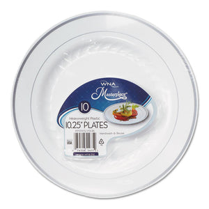 ESWNARSM101210WS - Masterpiece Plastic Plates, 10.25 In, White W-silver Accents, Round, 120-carton