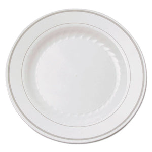 ESWNARSM61210WS - Masterpiece Plastic Plates, 6 In., White W-silver Accents, Round, 120-carton