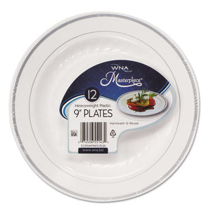 ESWNARSM91210WS - Masterpiece Plastic Plates, 9 In, White W-silver Accents, Round, 120-carton