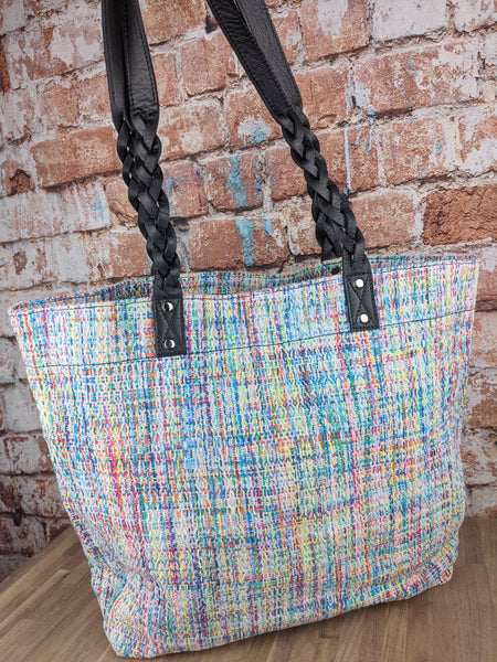 Ethos Handwoven Angel Cakes Tote with Black Leather Handles
