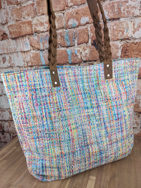 Ethos Handwoven Angel Cakes Tote with Distressed Leather Handles