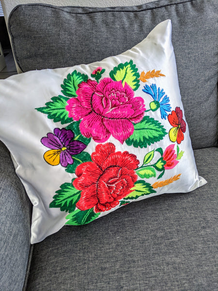 Vintage Floral Embroidered Throw Pillow Cover # 7