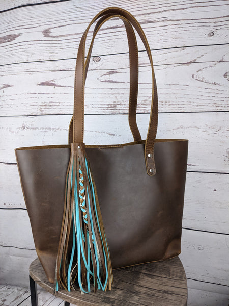 Tan Oil Pull-up Leather Abigail Tote