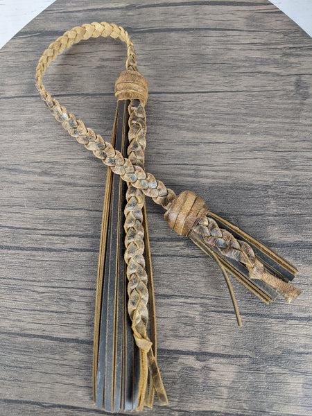 Distressed Leather Double Fringe Tassel