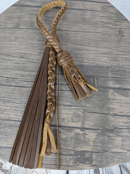 Tan Oil Pull-up Leather Double Tassel