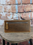 Tan Oil Pull-up Leather Slim Wallet