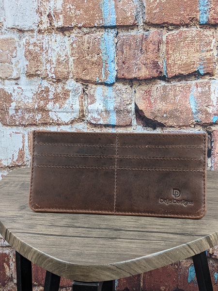 Dark Brown Oil Pull-up Leather Slim Wallet