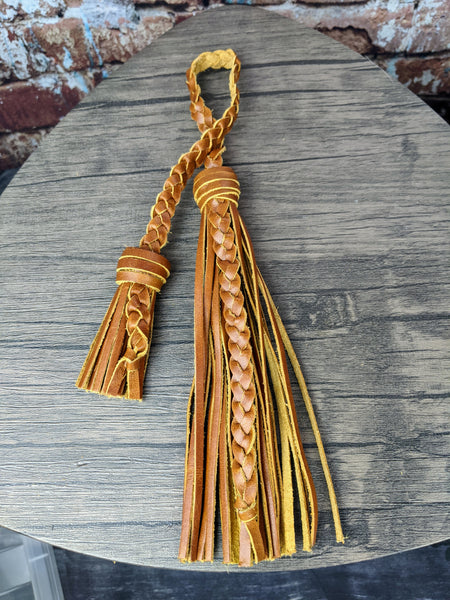 Tan Leather Double Fringe Tassel