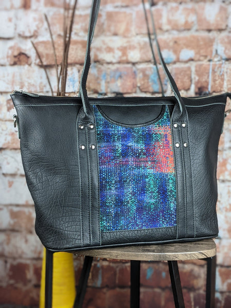 One of a Kind Sophia Tote Featuring Looming Llama 'Rainbowcore' in Black Leather No. ECF78
