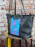 One of a Kind Sophia Tote Featuring Rainbow Frog in Black Leather No. 7FHC