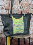 One of a Kind Sophia Tote Featuring Rainbow Frog in Black Leather No. DM98