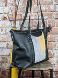 One of a Kind Sophia Tote Featuring Looming Llama in Black Leather No. PFJC