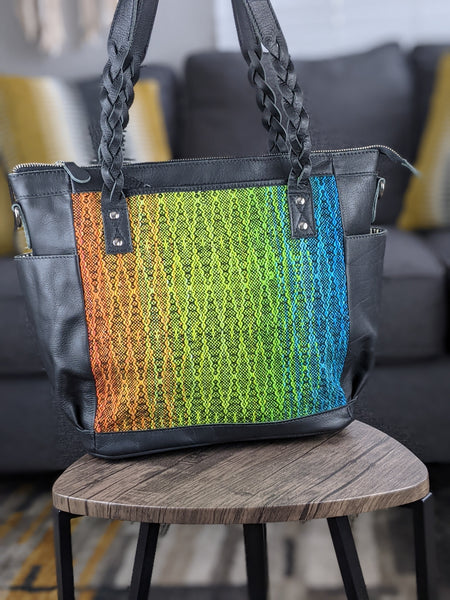 One of a Kind Medium Zoey Convertible Carryall Featuring Rainbow Frog in Black Leather No. PL7N