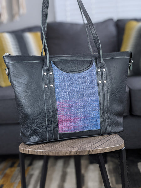 One of a Kind Sophia Tote Featuring Nejesa Handwovens in Black Leather No. 0CV2