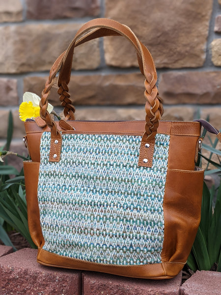 One of a Kind Medium Zoey Convertible Carryall Featuring Nejesa Handwovens in Tan Leather No. 34KL