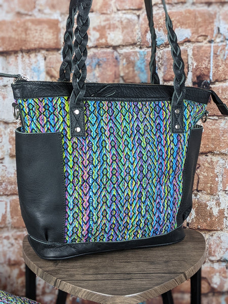 Medium Zoey Convertible Carryall in 'Aurora' designed by and woven for Daja Designs in Black Leather