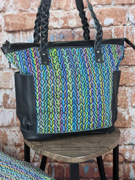 Zoey Convertible Carryall in 'Aurora' designed by and woven for Daja Designs in Black Leather