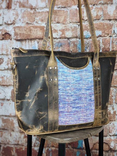 One of a Kind Sophia Tote Featuring Rainbow Frog in Distressed Leather No. WE34