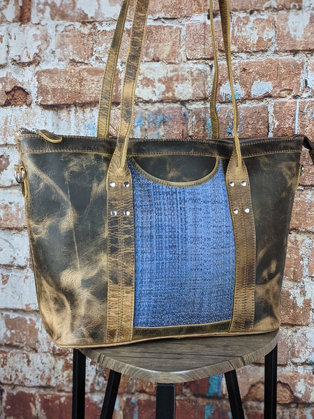 One of a Kind Sophia Tote Featuring Nejesa Handwovens in Distressed Leather No. PKC9
