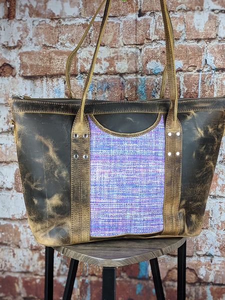 One of a Kind Sophia Tote Featuring Big Wave Textiles in Distressed Leather No. EN7G
