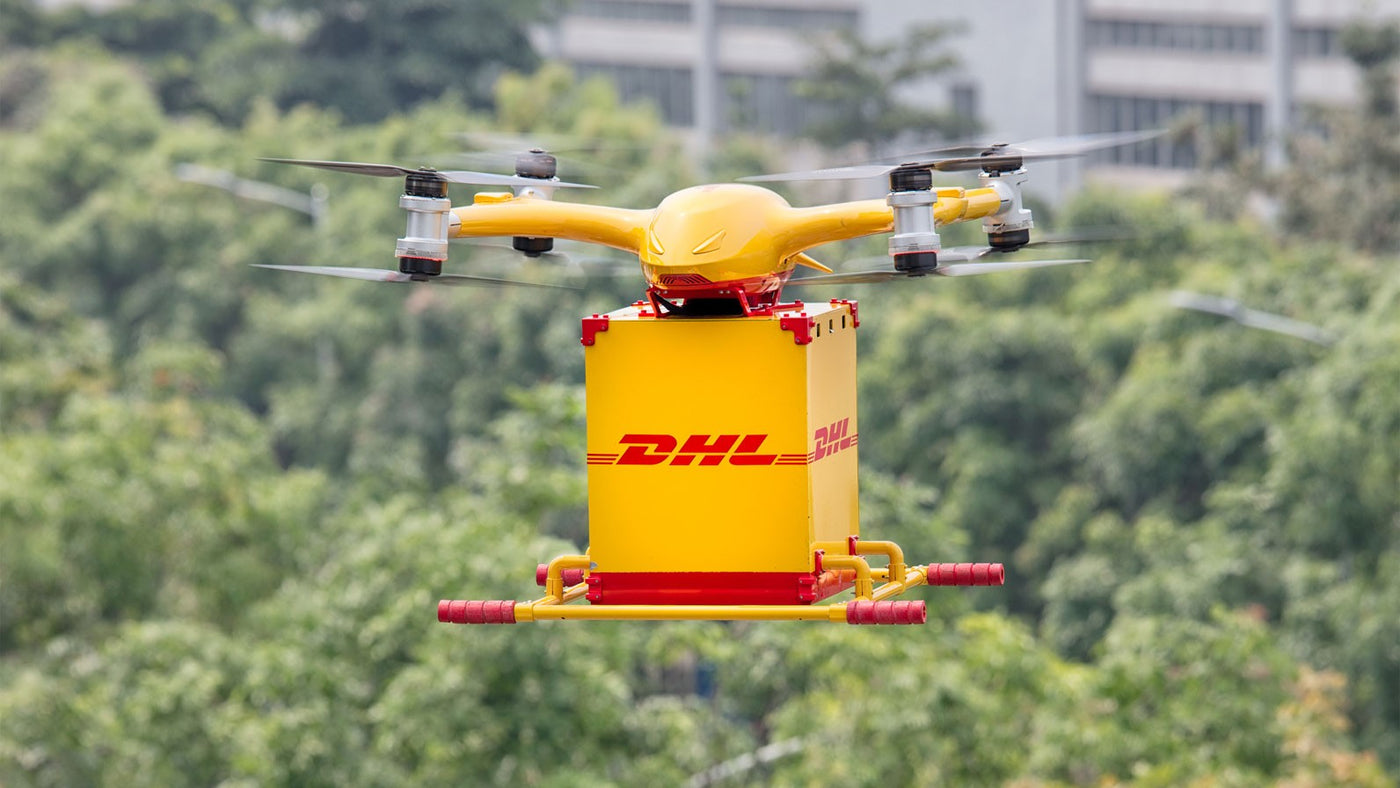 A Drone Delivering a DHL parcel (Drone Delivery)