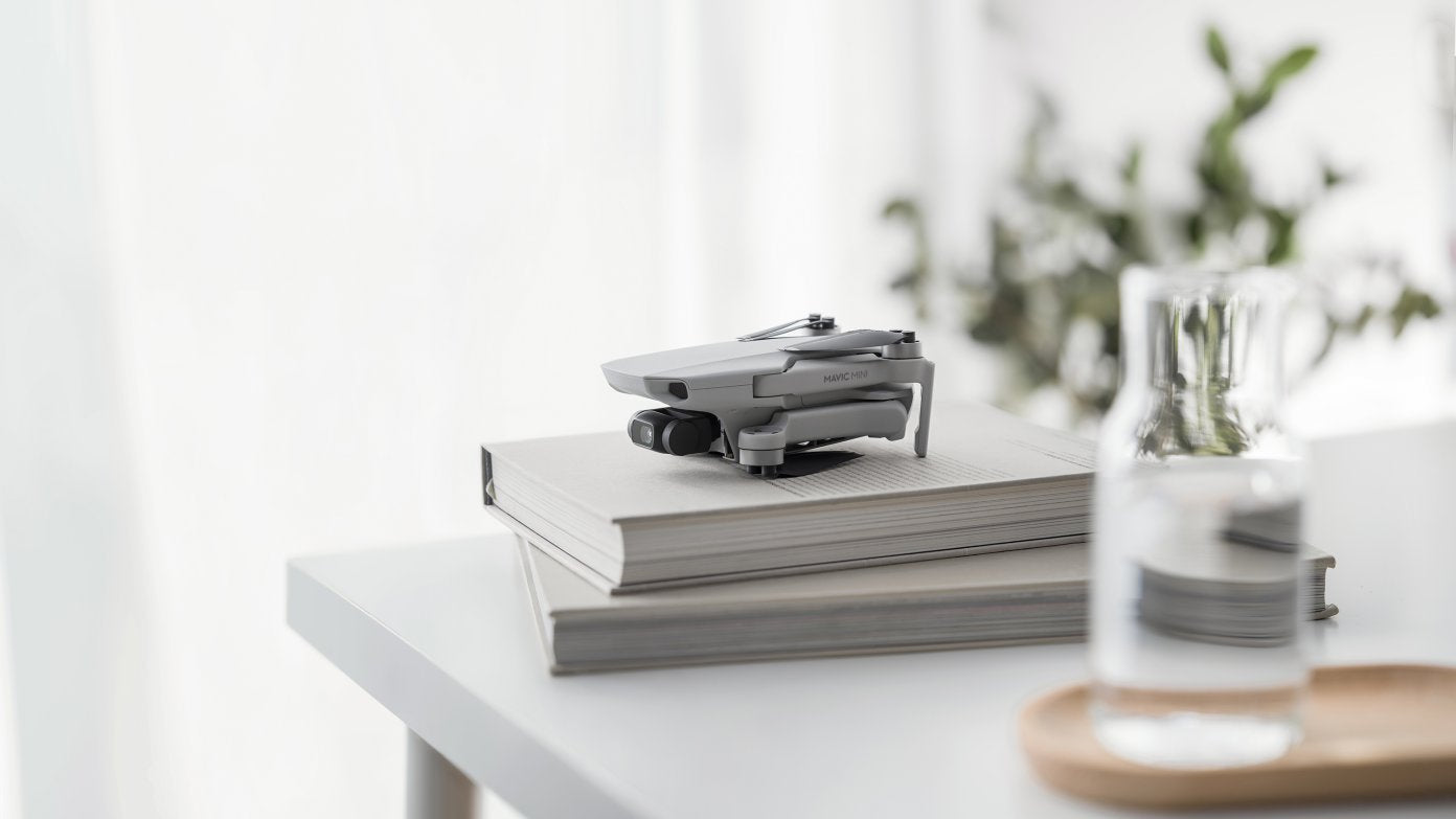 DJI Mavic Mini Drone Sitting on Books and Near a Vase