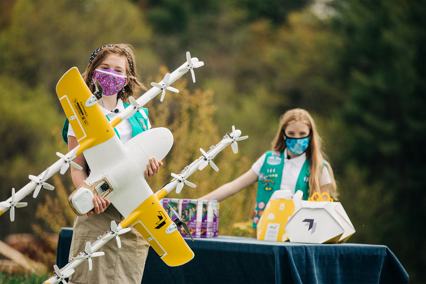 Wing's 14-propeller, drone begun dropping boxes of Girl Scout cookies in Virginia.