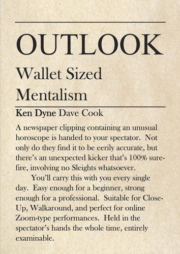 Outlook - Wallet Sized Mentalism by Ken Dyne and Dave Cook