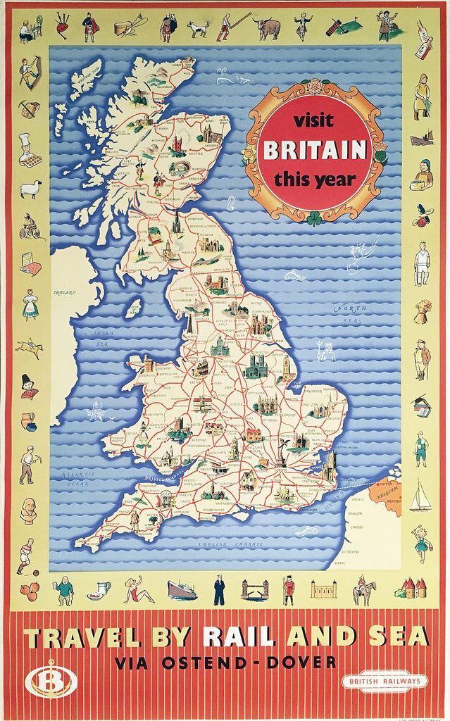 British Railways Map Poster