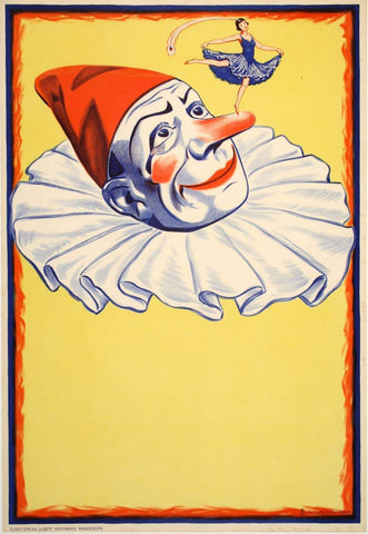 Clown on Yellow Background Original Vintage Poster