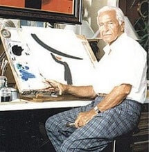 Artist Rene Gruau at His Studio